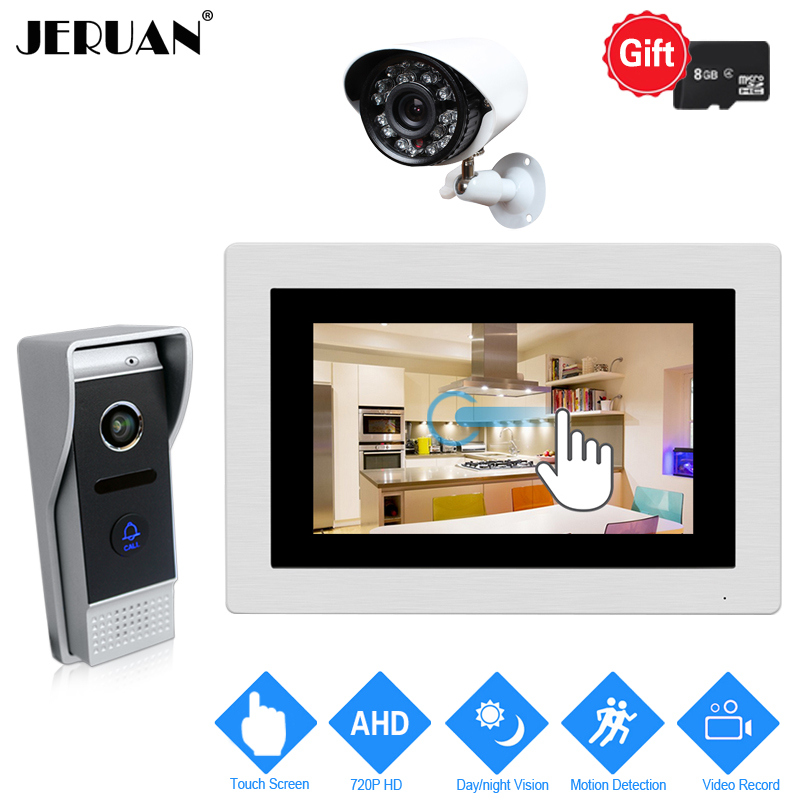 JERUAN Motion Detection 7`` Touch Screen Video Door Phone Intercom System Record Monitor + HD 110 degree Camera+720P CCTV Camera