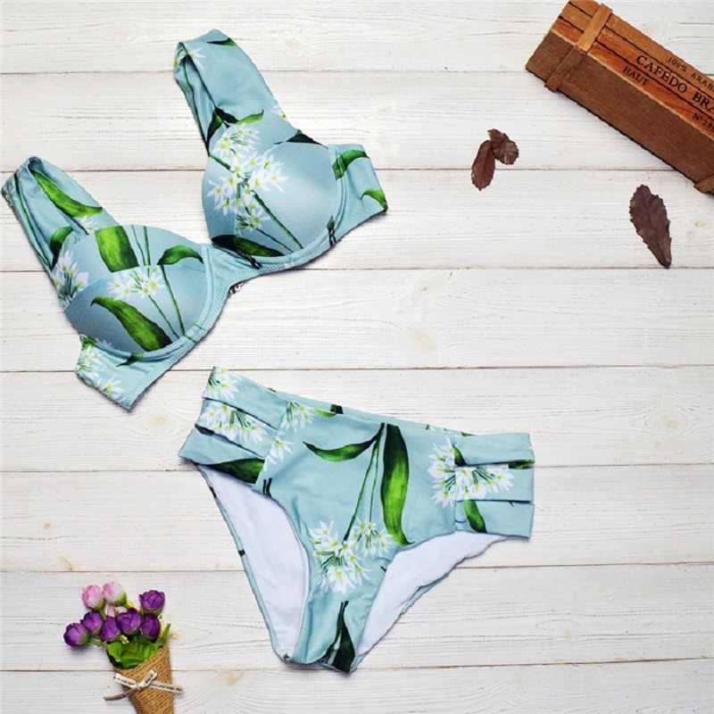 Сексуальный 2019 раздельный пуш-ап купальник с высокой талией для женщин струнный купальник пляжная одежда из двух частей купальник цветочный бикини