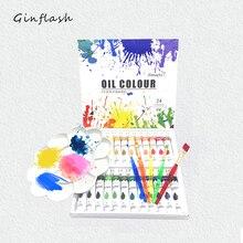 цена на Professional Tube Oil Paints art for artists Canvas Pigment Art Supplies Drawing 12ML 24Colors paint brush&palette Set