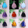 27x36MM Water Drop Bead Natural Amethyst Tigereye Agate Crystal Opal Turquoise Lapis Lazuli Pendant 1Pcs