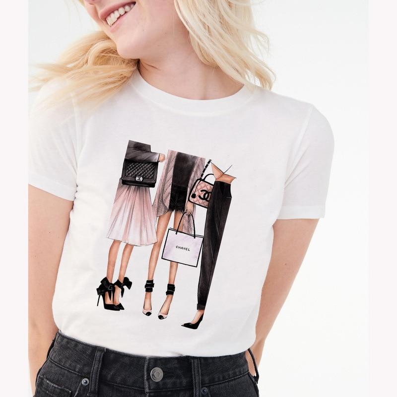 Women's clothing 100% cotton Streetwear Kawaii aesthetic   t     shirt   graphic   shirts   women 90s Korean gothic Tops Plus size S85