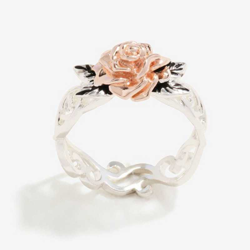 Rose Flower Hollow Rings Rose Gold Silver Color Two Color  Wedding Rings For Women Engagement Jewelry Female Top Quality