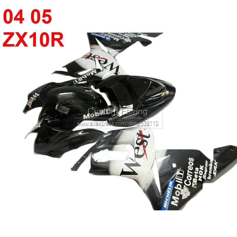 ABS fairings for Kawasaki ZX10R Ninja zx 10r 2005 2004 black WEST sticker 05 04 fairing kit xl93 motorcycle fairing kit for kawasaki ninja zx10r 2006 2007 zx10r 06 07 zx 10r 06 07 west white black fairings set 7 gifts kd01