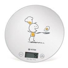 Кухонные весы VITEK VT-8018 W (Максимальный вес 5 кг, шаг измерения 1 г, платформа из стекла, тарокомпенсация, ЖК-дисплей)