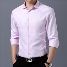 long sleeve shirt men dress Solid New Fashion mens shirts regular fit Casual Business Man formal Shirt office