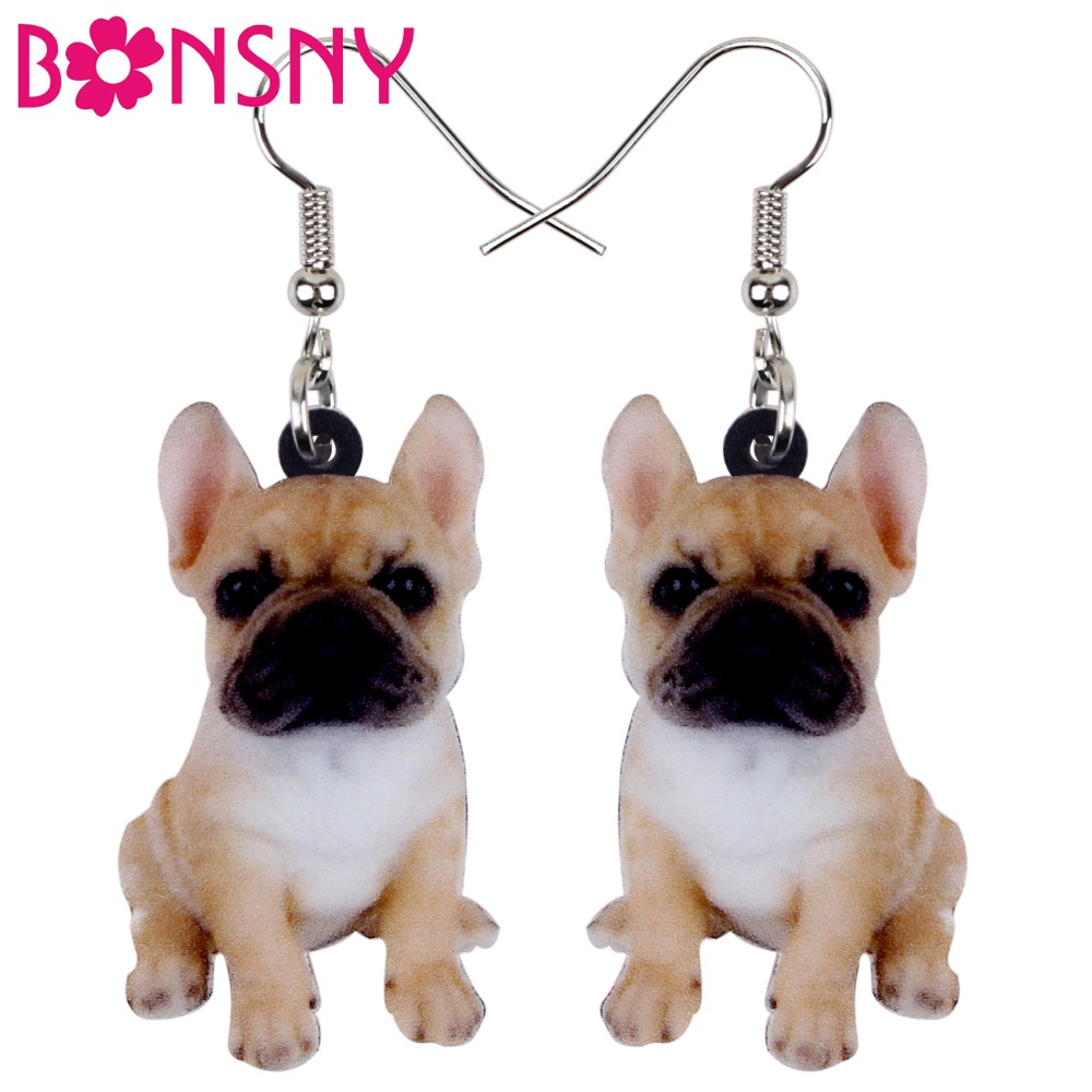 Bonsny Acrylic Sweet Sitting French Bulldog Dog Earrings Big Long Dangle Drop Women Girls Ladies Fashion Anime Jewelry Bulk Pets