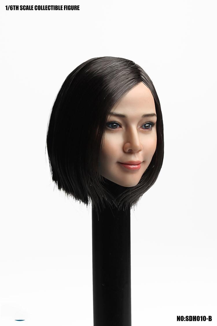 1/6 asie femmes tête 1/6th SUPER canard SDH010 asiatique fille tête sculpter W longs cheveux ondulés Fit 12