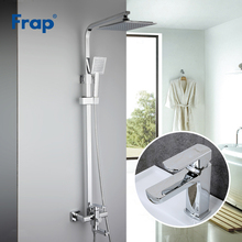 Faucets-Set Bathtub Shower-Tap Frap Mixer Basin Stainless Rainfall Chrome ABS