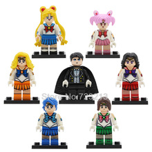 7pcs/lot Sailor Moon Cartoon Figure Set Chiba Mamoru Hino Rei Mizuno Ami Building Blocks Sets Models Bricks Toys for Children(China)