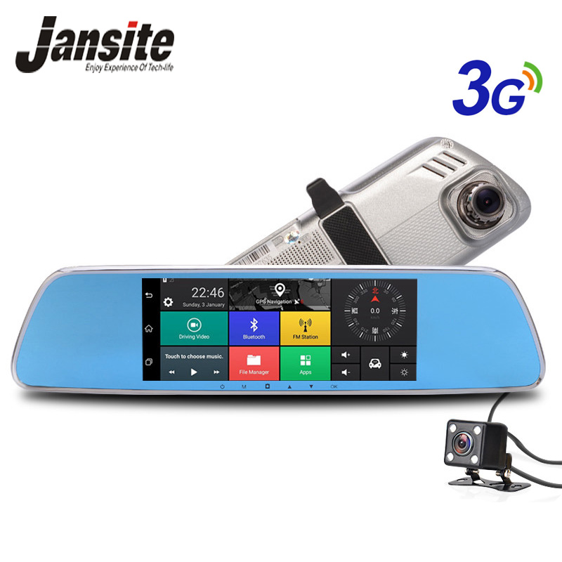 Jansite 7 Car camera 3G GPS navigation Car Dvr  Android 5.0 Bluetooth Wifi rearview mirror Dash Cam car video recorder relaxgo 5android rearview mirror car camera gps navigation wifi car video recorder dual lens 1080p vehicle dvr parking dash cam
