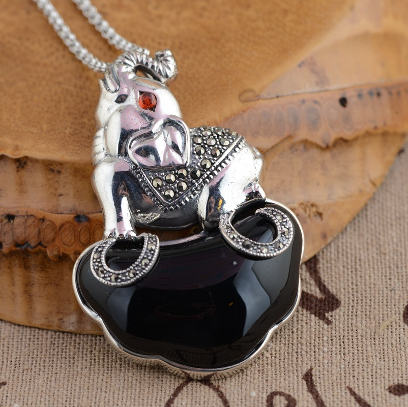 S925 sterling silver pendant antique style female elephant s925 style antique sterling silver pendant silver pendant pendant lotus female manual diy