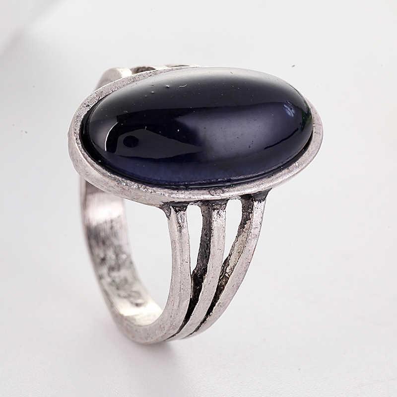 Bohemian ใหม่มาถึงรูปไข่ขนาดใหญ่สีดำหินสีเงิน Hollow OUT VINTAGE แหวนใช้กับผู้หญิงของขวัญวันเกิด a4J449