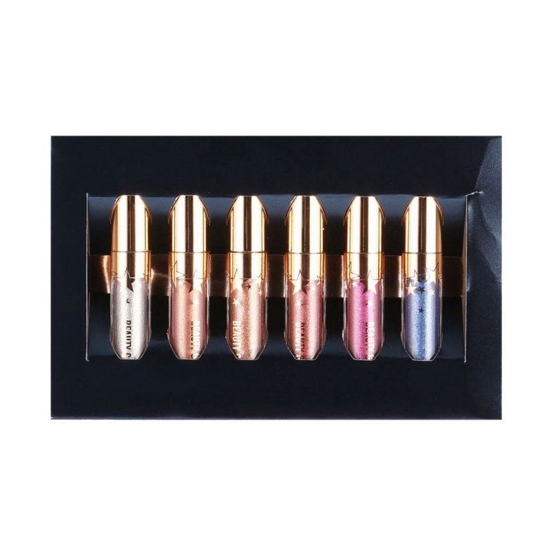 Manooby Beauty Glazed 6pcs/set Matte Lipstick Liquid Lip Gloss Makeup Moisturizer Shimmer LipglossLevre Lipstick Shining Batom 5