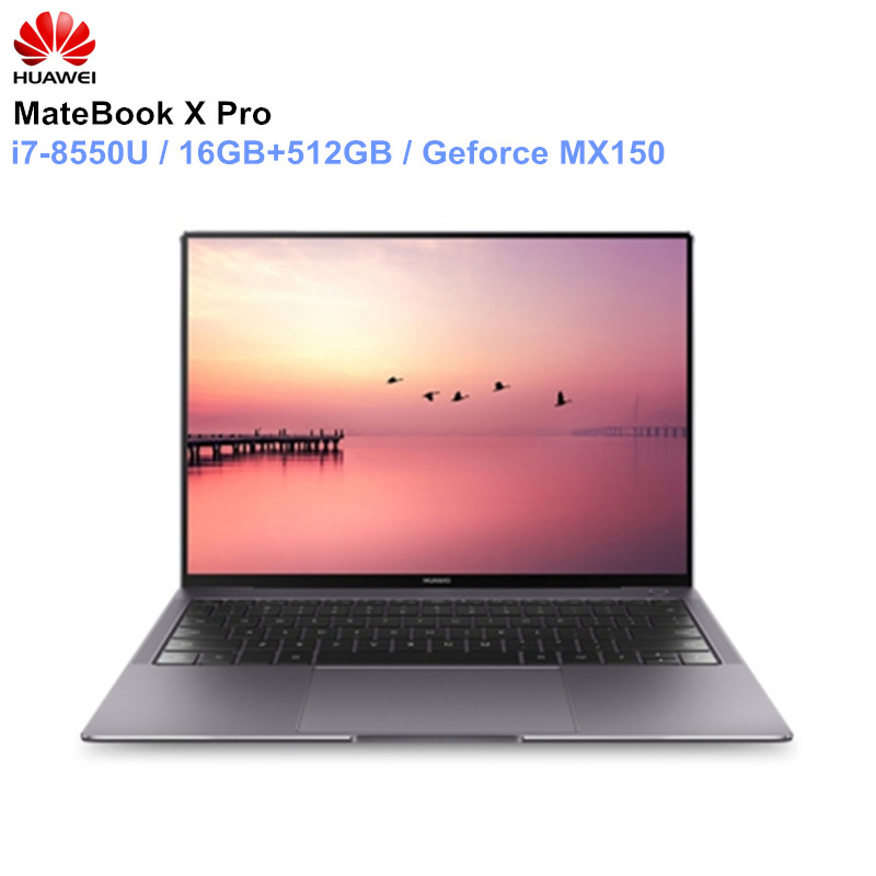 HUAWEI MateBook X Pro ноутбук 13,9 ''intel Core i7-8850U 16 Гб оперативная память 512 SSD NVIDIA Geforce MX150 сенсорный экран PC