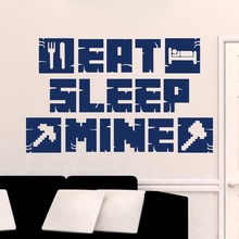 Eat Sleep Mine Wall Decal MineCraft Gamer Poster Art Stickers For Kids Room Decoration Home Bedroom Decor Mural W665