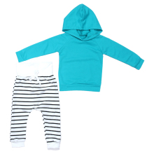 2pcs Newborn Baby Girl Boy Clothes Set Baby Warm Hooded Coat Tops Blue + Striped Trousers Outfits Autumn Kids Clothing Set