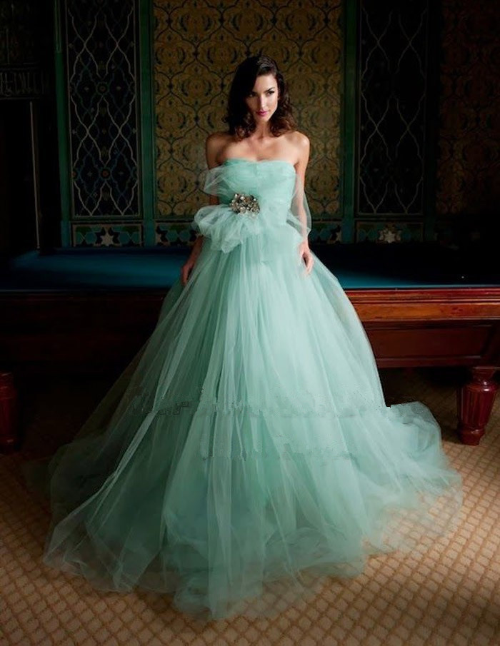 Long Wedding Dress Dresses 2017 Pretty Karen Caldwell Mint Gown Crystal Pleated Tulle Ball Designer Bridal In From