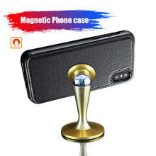 Magnet Fitted Phone Case for iPhone 7 8 7plus iPhone X iPhone 6s Leather Case for Samsung S6 S7 edge S8 Plus Soft Shockproof