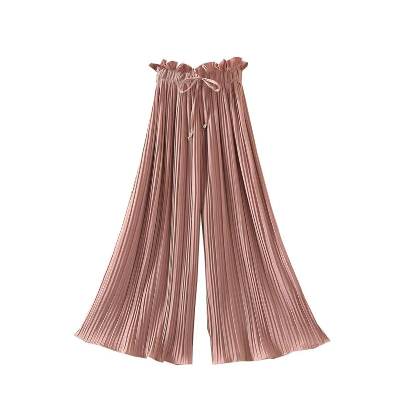 Ruffle Trousers for Women High Waist Wide Leg Chiffon Loose Pants Female Casual Large Sizes Clothes Korean Autumn 1