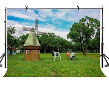 7x5ft Pastoral Farm Backdrop Cozy Windmill Cow Photography Background and Studio Props