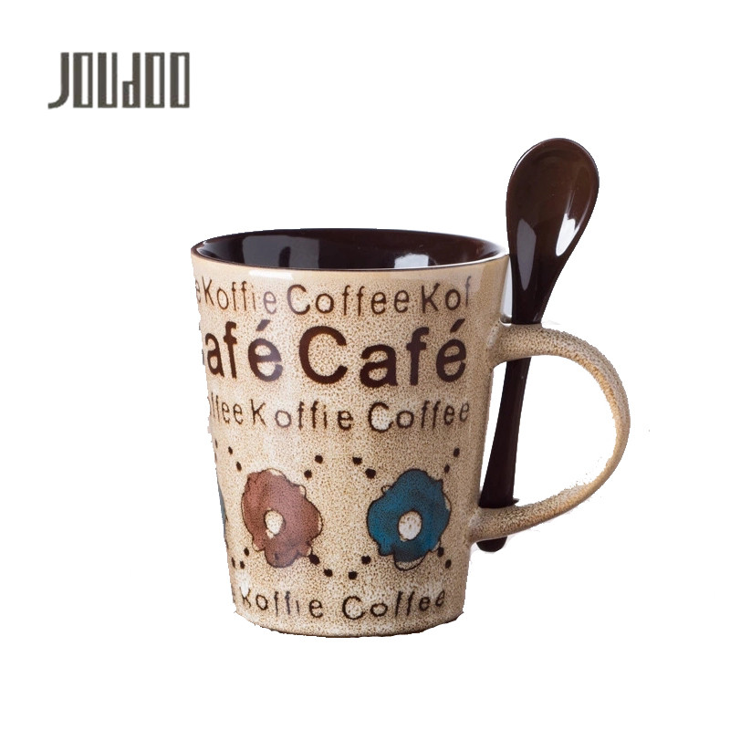JOUDOO Novelty Hand-painted Retro Ceramic Mug Milk Coffee Tea Cup Office School Gift Supplies