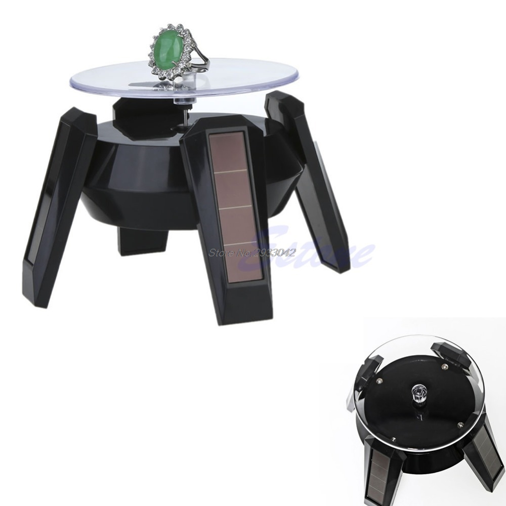 Solar Power 360 Degree Jewelry Rotating Display Stand Turn Table Plate -W128