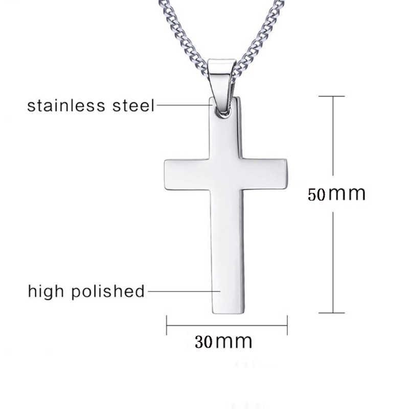 4 kolory Hot pozłacane chrześcijańscy mężczyźni Link Chain naszyjniki wisiorek ze stali nierdzewnej krzyż jednolity kolor koreańska wersja Choker biżuteria prezent