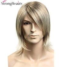 StrongBeauty syntetyczne włosy blond peruka z prostymi włosami dla mężczyzn Cosplay Halloween średnie peruki z długimi włosami