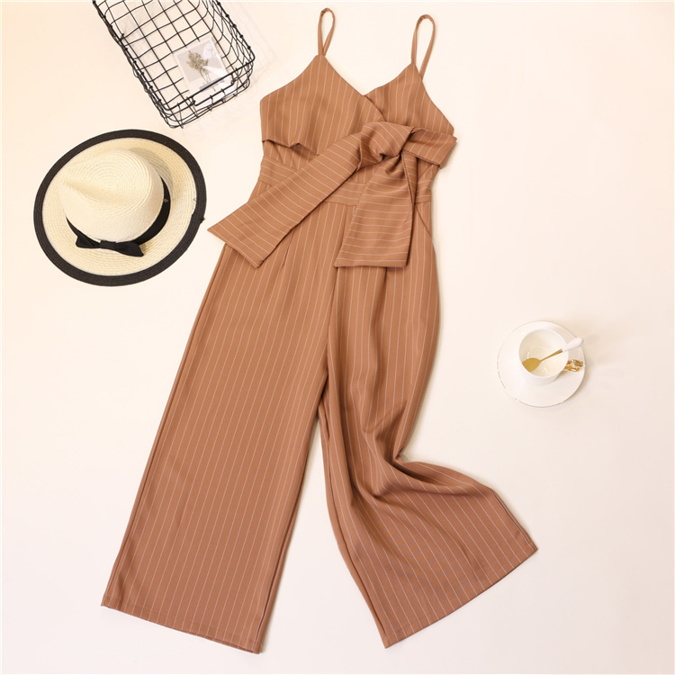 Summer Stripe Camisole Jumpsuit Women V-neck Striped Sexy High Waist Wide Leg Pants Office Ladies Red Black Overall Bodysuit 87