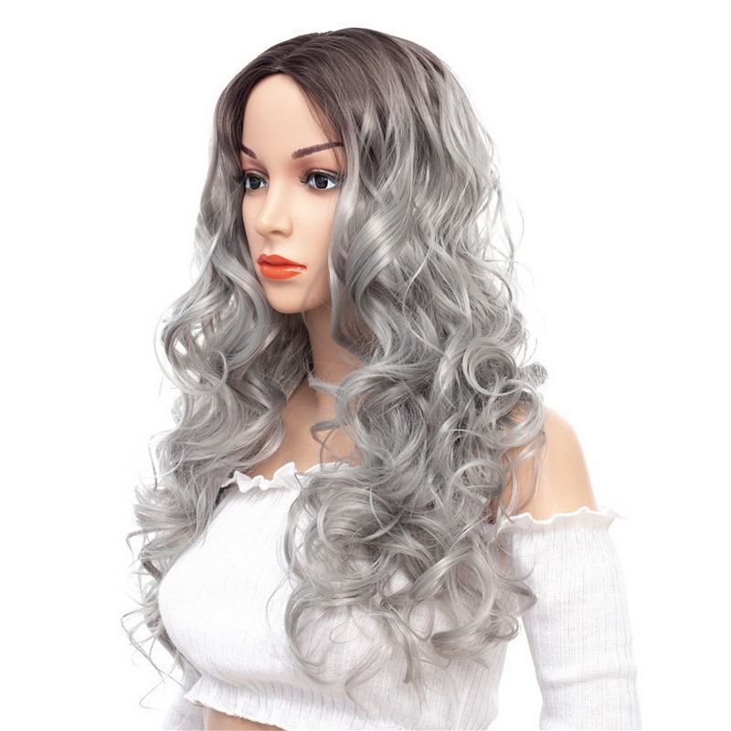 Yiyaobess Middle Part Long Wavy 2 Tone Ombre Synthetic Wig Grey Wine Red Dark Brown Hair Wigs For Women High Temperature Fiber
