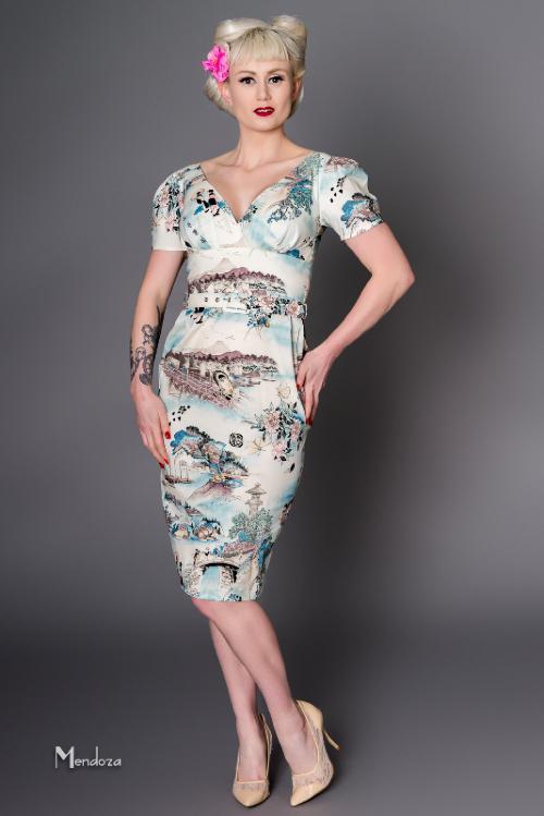 red Wrap Vintage Blossom Été as Show Jurken Dress Imprimer up Femmes Taille Plus Wiggle Pin V Robes 40 Vestidos S La Green Sexy Cou Cherry Crayon 0XgwX5