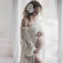 Fancy Strapless Lace Robe Split Front Maternity Dress