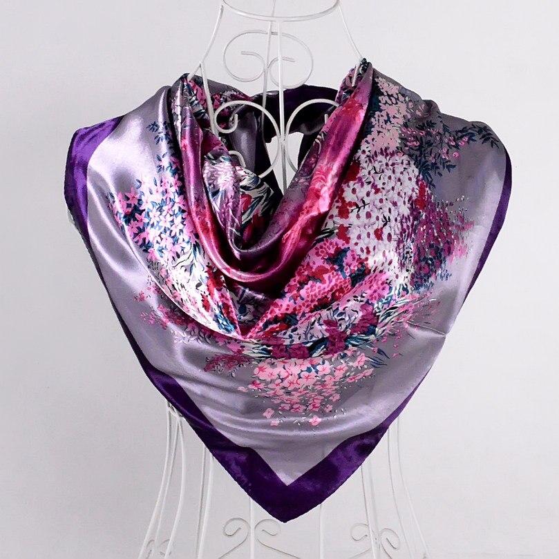 Дизайн женский Шелковый большой квадратный шелковый шарф из полиэстера, 90*90 см горячая Распродажа атласный шарф с принтом для весны, лета, осени, зимы - Цвет: purple 529