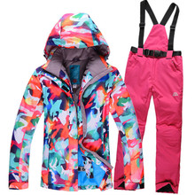 Free shipping Skiing suit snow jackets women Windproof Breathable camping women ski suit snowboard riding camping цена