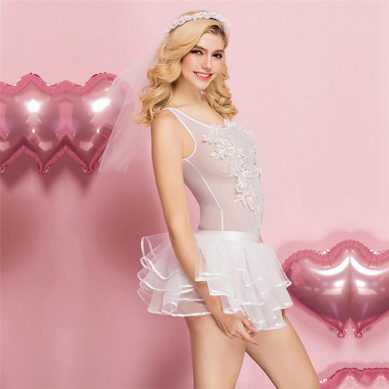 Women Lace Babydoll Lingerie Sexy Hot Erotic Porno Dress Bridal Cosplay Wedding Costumes Underwear