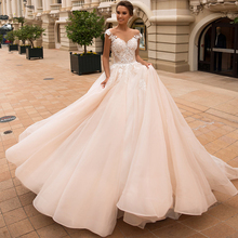 Luxury Ball Gown Wedding Dress Graceful Appliques Sheer Scoop Cap Sleeve Backless Bride Dress Chapel Train Bridal Gown Plus Size