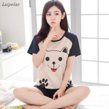 2018 fashion Summer Women Pajamas Sets  Short Sleeve Pijamas Mujer Comfortable Thin Cotton Home Clothing Lovely Sleepwear Suit