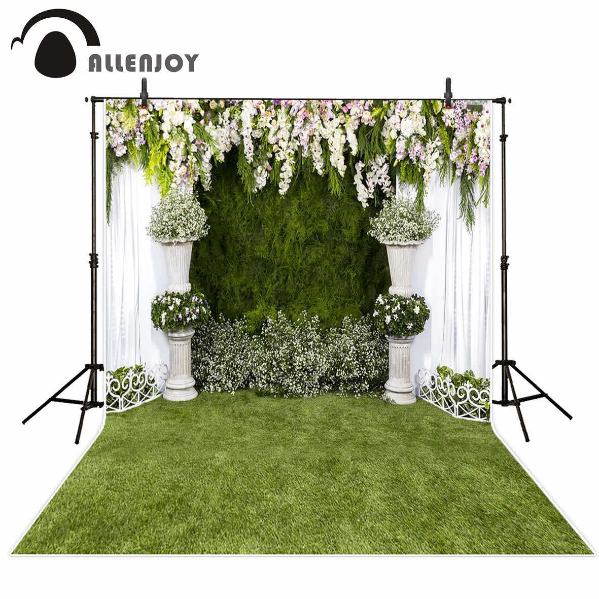 Allenjoy vinyl photographic background White grass flowers to celebrate the wedding backdrop photocall professional customize цена