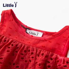 Little J 100% Cotton Girls Red Off Shoulder Dress