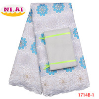 African Lace Fabric 2018 High Quality Headtie Swiss Voile Lace In Switzerland Cotton Lace African Fabric Lace Dress NA1714B 1