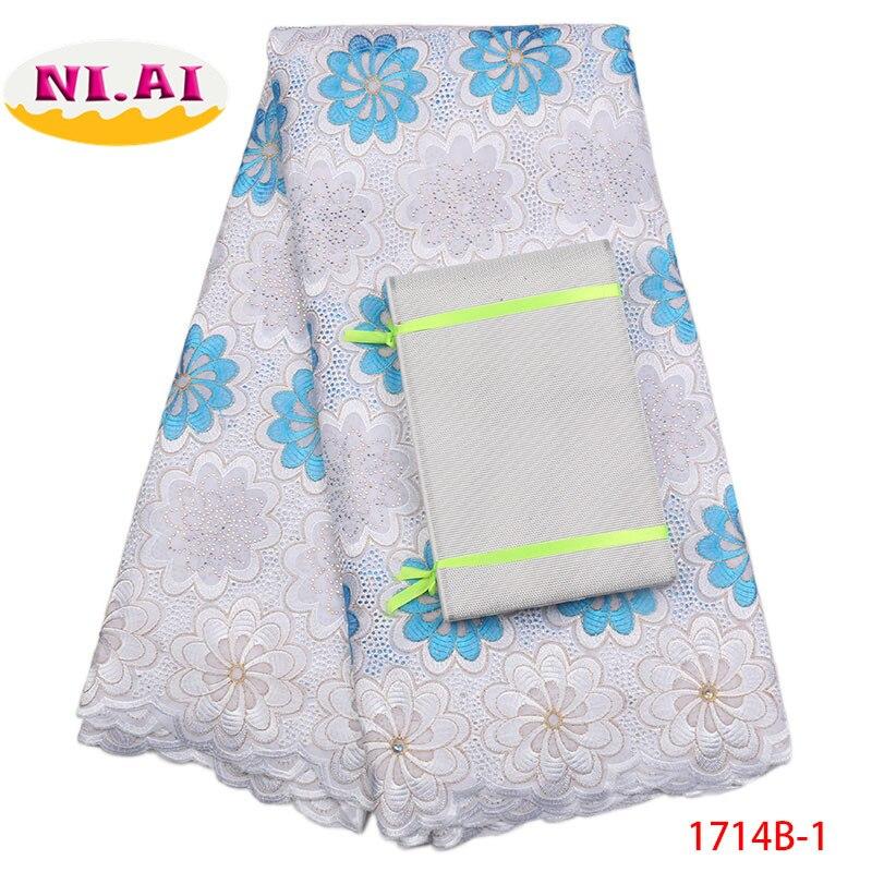 Africain tissu en dentelle 2018 qualité supérieure Headtie Suisse voile dentelle en suisse Dentelle De Coton Africain Tissu robe en dentelle NA1714B-1