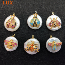 LUX Fashion Gold color Plated Natural White Pearl Charm Pave CZ insect Pearls Pendants Gems stone Boho Jewelry DIY Making