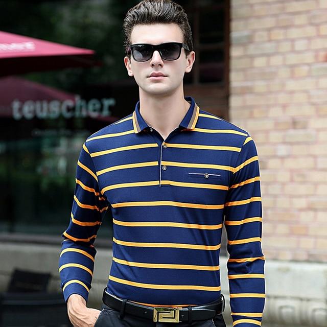 Мода Полосатый Slim fit мужская рубашка Поло 2016 осень длинный рукав Хлопок Camisas Поло homme Случайные Удобные Мягкие мужчины топы