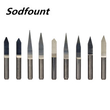 10pcs/Set 3.175 10 90 angle V Shape Flat Bottom Carbide Engraving Milling Cutters Spiral Bit CNC Router bits tools knife