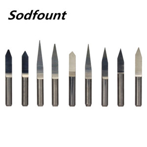 Image 1 - 10pcs/Set 3.175 10 90 angle V Shape Flat Bottom Carbide Engraving Milling Cutters Spiral Bit CNC Router bits tools knife