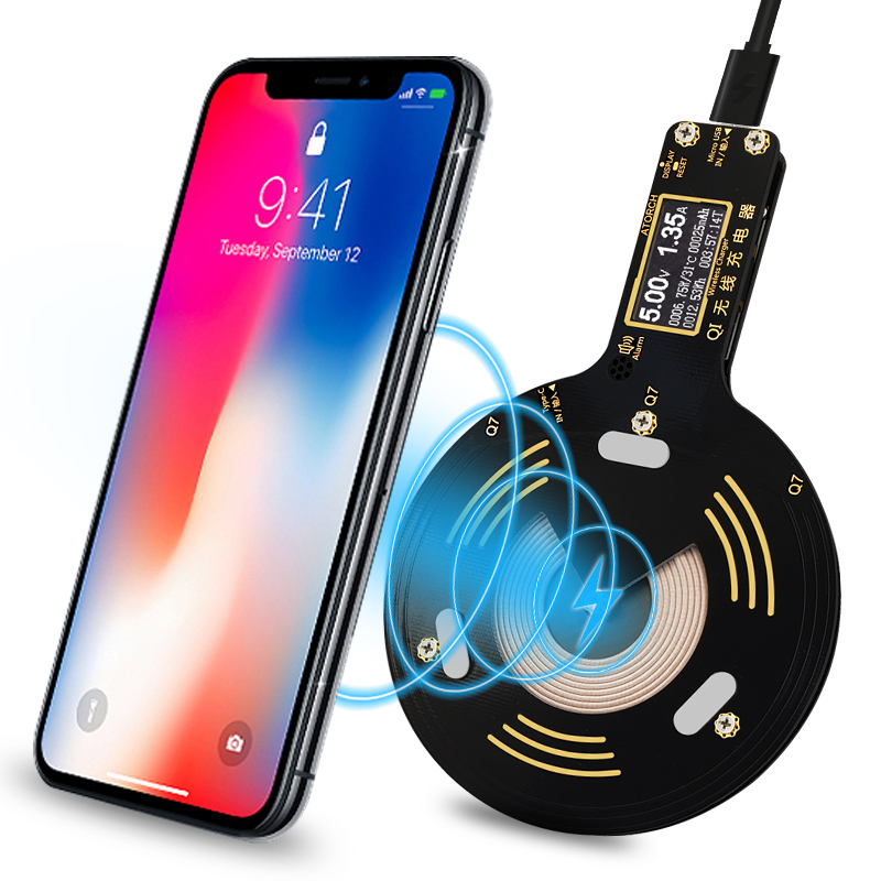 ATORCH Digital display Q7 Mobile phone charger Qi Wireless Charger for iPhone 8X 8 Plus Samsung Galaxy S8 S9 S7 usb fast charger