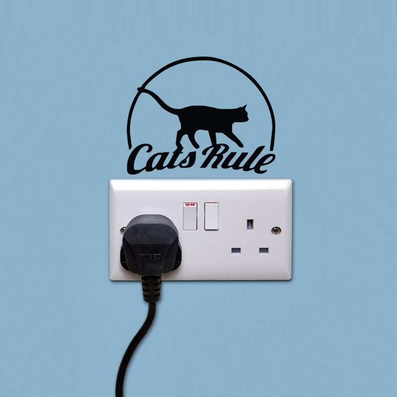 Cat Rule Light Switch Stickers Home Wall Decor Living Room Window - Vinyl-decals-to-decorate-light-switches-and-outlets