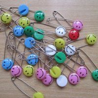 Free Shipping 48pcs Multicolor Smiling Face Tone Safety Pins Findings 59mm 15mm 02501000e