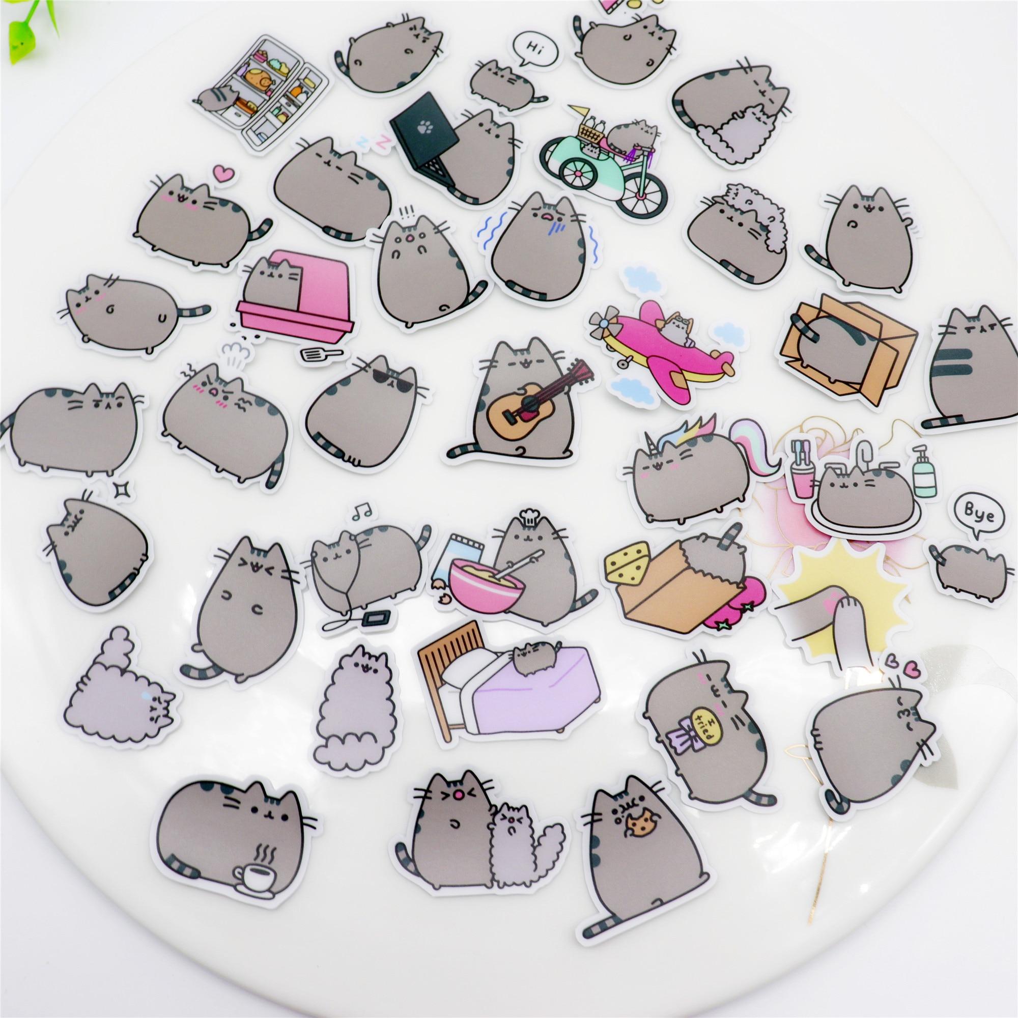 39 шт. креативные милые наклейки для скрапбукинга с толстым котом, декоративные наклейки, водонепроницаемые фотоальбомы «сделай сам»