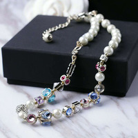 Fashion Brand Women Chokers Necklaces New Colored Pearl Crystal Necklace Exaggerated Chain Necklace